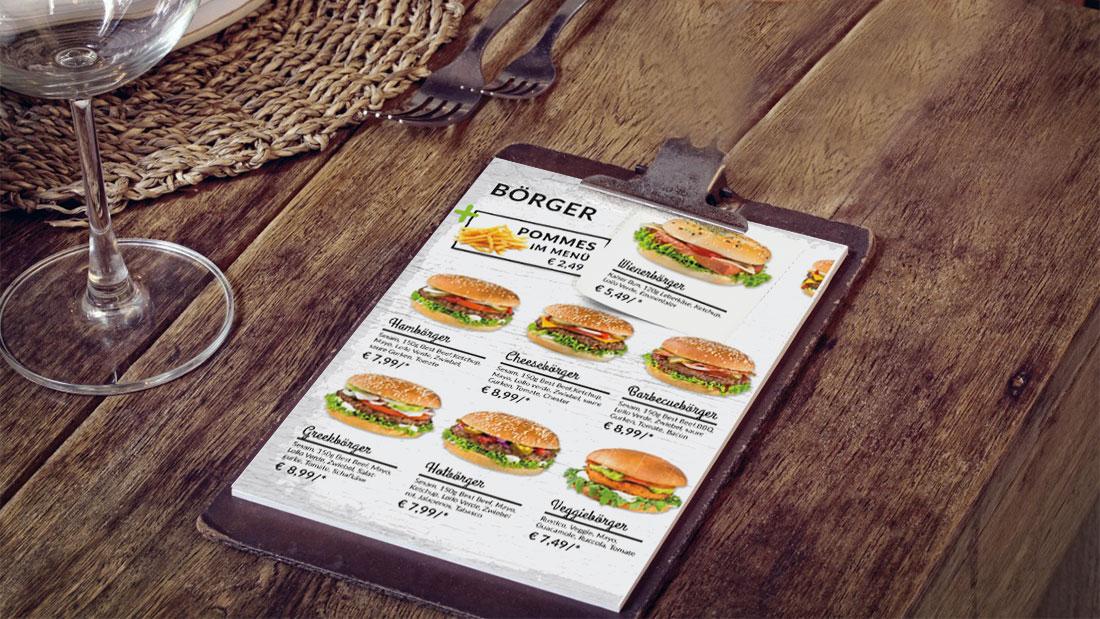 Wiener Börger Speisekarte